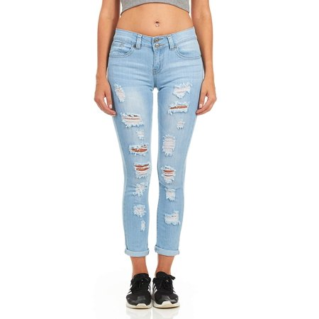 023dc4a2a0b69 YDX Jeans - Cover Girl Denim Ripped Jeans for Women Juniors Distressed Slim  Fit Skinny Jeans Size 15 16 Baby Blue - Walmart.com