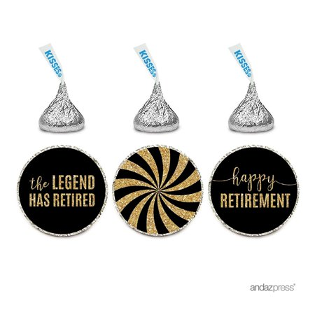 Retirement Sash (Chocolate Drop Labels Trio, Hershey's Kisses Party Favors, Retirement Black and Gold, 216-Pack, The Legend Has)