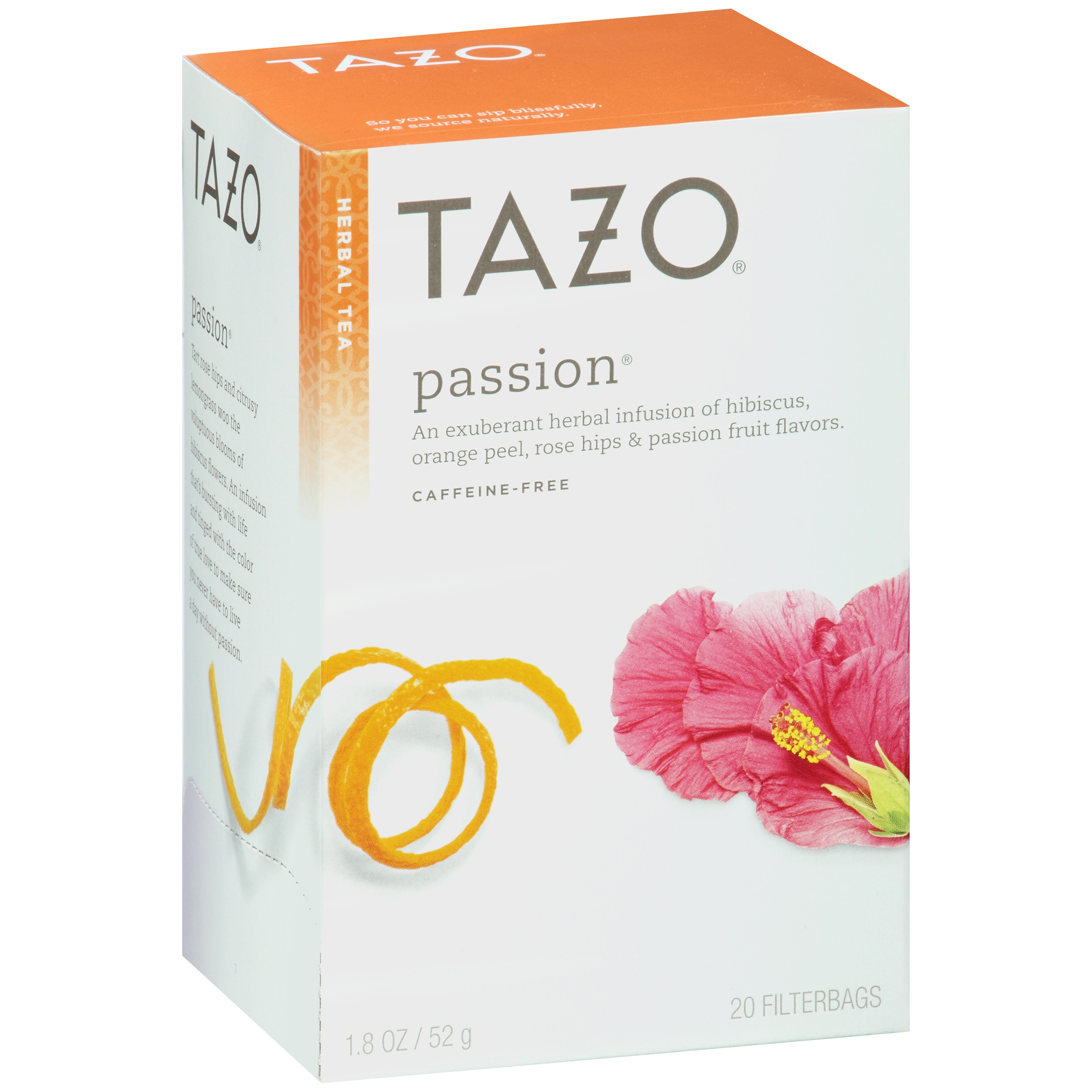 Tazo Passion Herbal Infusion Caffeine Free Tea Bags, 20 ct