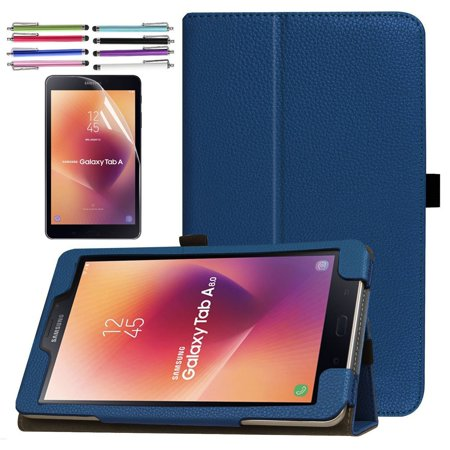 Folding PU Case for Galaxy Tab A 8.0 (2017), EpicGadget Premium PU Leather Folding Folio Case with Built in Stand For Galaxy Tab A 8 (T380/T385) (2017 Release) (Navy Blue)