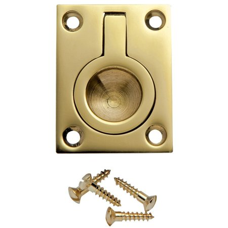 1-1/2 inW x 2 inH Rectangular Recessed Ring Pull, Polished Brass, Solid brass recessed ring pull By Rockler Ship from US