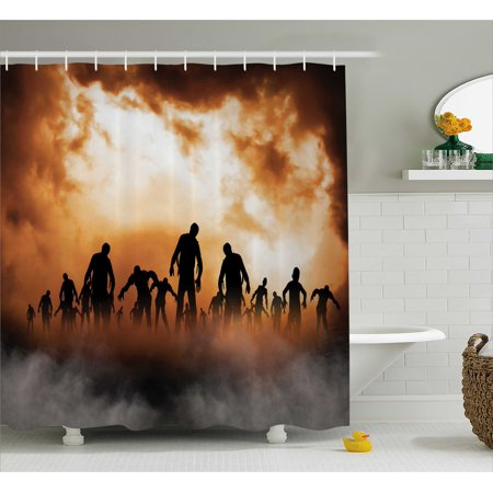 Halloween Shower Curtain, Zombies Dead Men Walking Body in the Doom Mist at Night Sky Haunted Theme Print, Fabric Bathroom Set with Hooks, Orange Black, by Ambesonne - Halloween Themed Wedding Shower