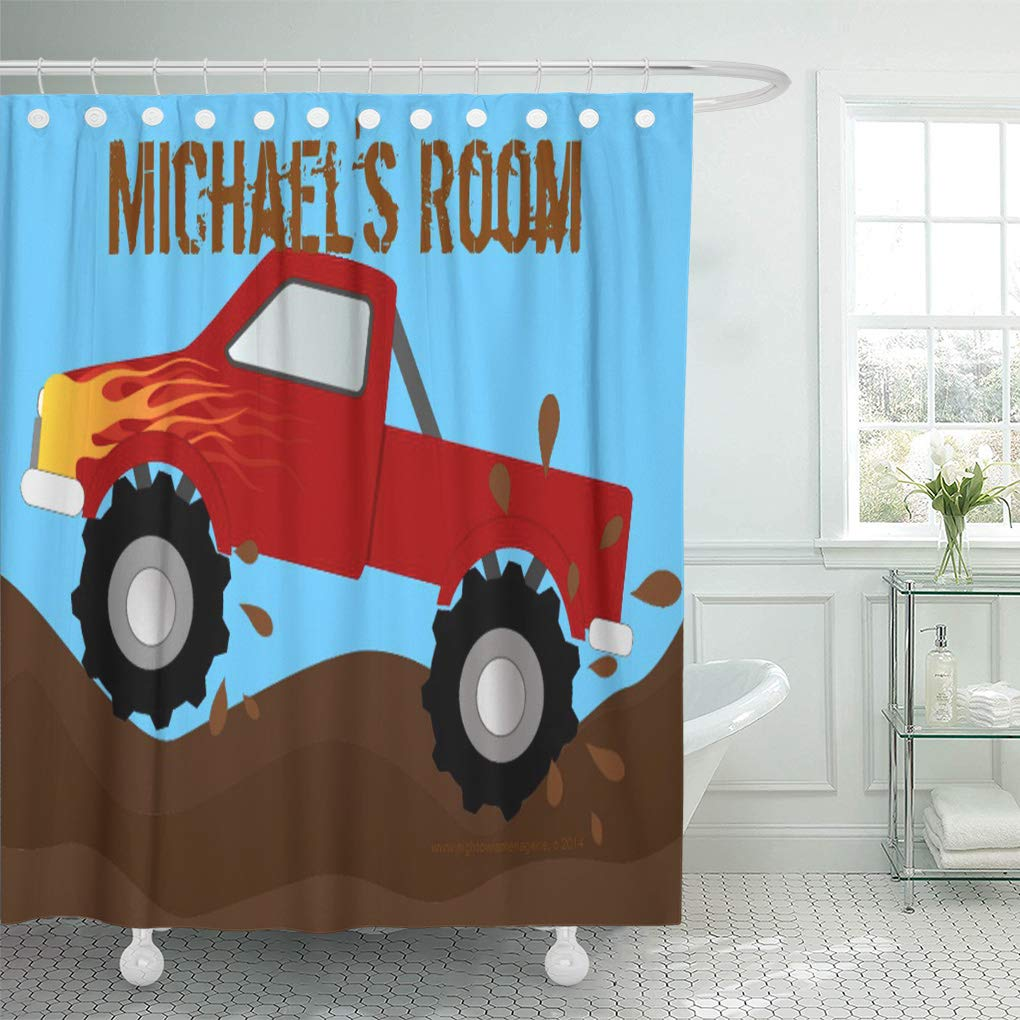 Cynlon Racing Red Monster Truck Mud Children Kid Room Boy Bathroom Decor Bath Shower Curtain 66x72 Inch Walmart Com Walmart Com