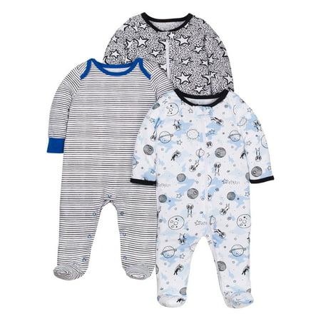 Little Star Organic 100% organic cotton sleep 'n play pajamas, 3-pack (baby boys)