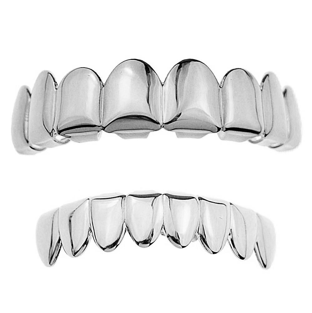 Grillz Four 4 Tooth Lower Teeth Grill Silver Tone Plain Bottom Row Hip Hop Grills