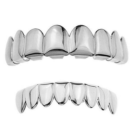 Grillz Set Eight Top Upper Teeth And 8 Bottom Lower Plain Teeth Silver Tone Slugs Hip Hop Grills - Fake Grill Teeth