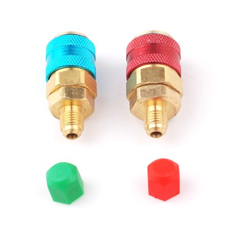 Sae Fitting (A/C R134a Quick Coupler Adapter Car High & Low Side HVAC SAE Male Flare Fitting)