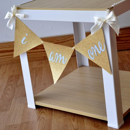 High Chair Banner (I Am One Banner.  Ships in 1-3 Business Days.  1st Birthday Boy.  I Am One High Chair Banner.  Bunting)