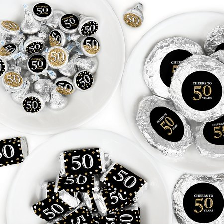 Adult 50th Birthday - Mini Candy Bar Wrappers, Round Candy Stickers and Circle Stickers - Gold - Birthday Party Candy Favor Sticker Kit - 304 Pieces