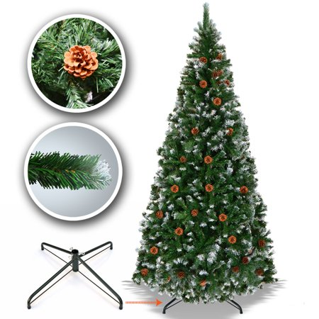Image of Sunrise 5' 6' 7' 7.5' Snow Tipped Christmas Tree with Pine Cones and Steel Stand -Unlit (7.5' with 1221 Tips and 46 pinecones)