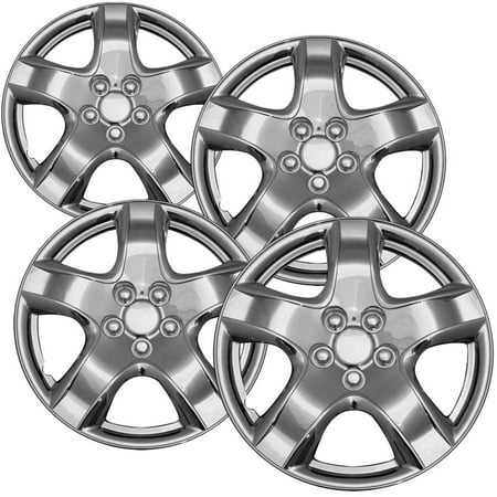 "4-Piece Set of 15"" Chrome Hub Caps Full Lug Skin Rim Cover for OEM Steel Wheel"