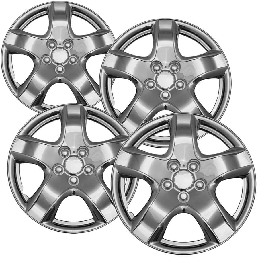 """4-Piece Set of 15"""" Chrome Hub Caps Full Lug Skin Rim Cover for OEM Steel Wheel"""