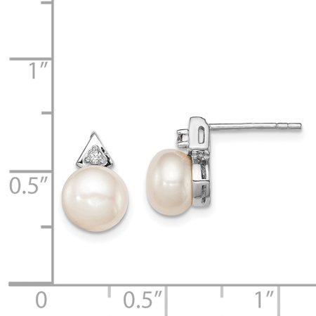 fe6c40547 925 Sterling Silver 8mm White Freshwater Cultured Pearl Cubic Zirconia Cz  Post Stud Earrings Ball Button ...