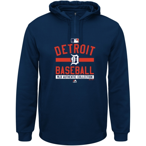 Detroit Tigers Majestic AC Team Property On-Field Solid Therma Base Hoodie - Navy