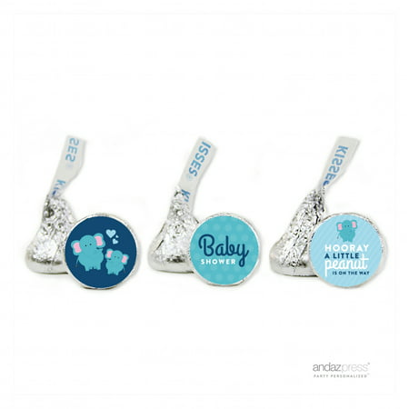 Party Navy Blue Lil Peanut Elephant Boy Baby Shower Hershey´s Kisses Favor Labels, 216-Pack