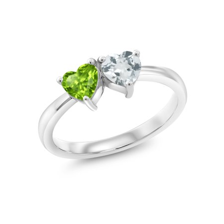 - 0.88 Ct Heart Shape Green Peridot Sky Blue Aquamarine 925 Sterling Silver Ring