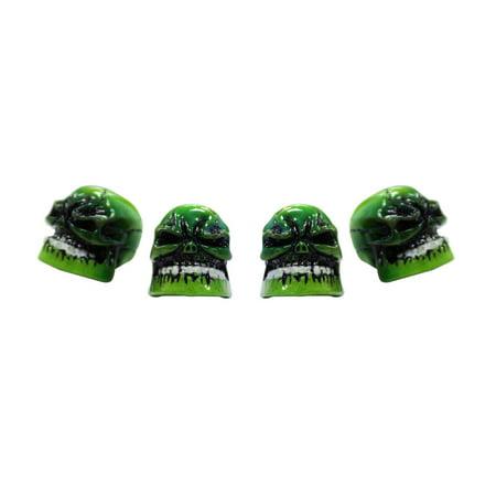 Green Skull Tire Valve Cap, 4 piece ()