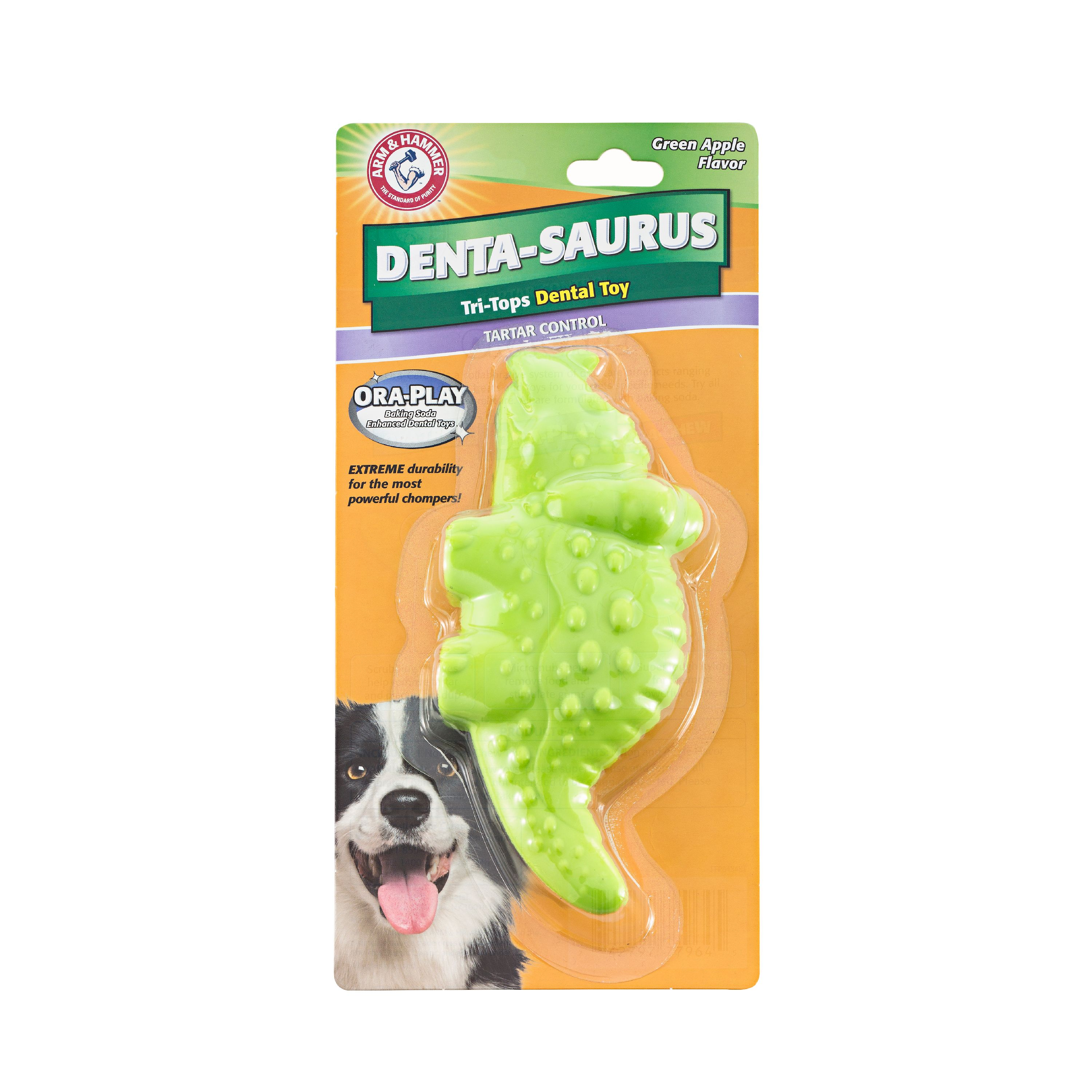 Arm & Hammer™ Ora-Play Denta-Saurus Tri-Tops Dental Toy in Green Apple Flavor