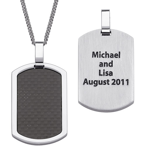 Personalized Men's Stainless Steel and Carbon Fiber Engraved Dog Tag