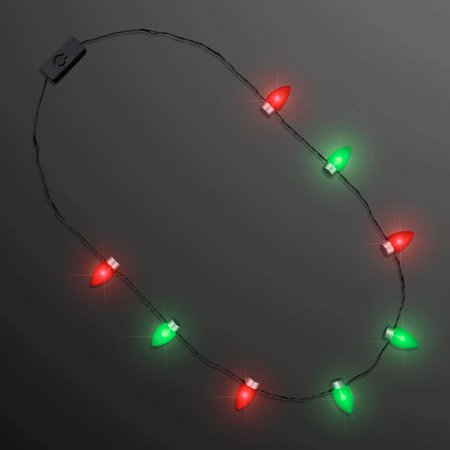 Red and Green Flashing Christmas Lights Necklace by Blinkee (Lighted Necklace)