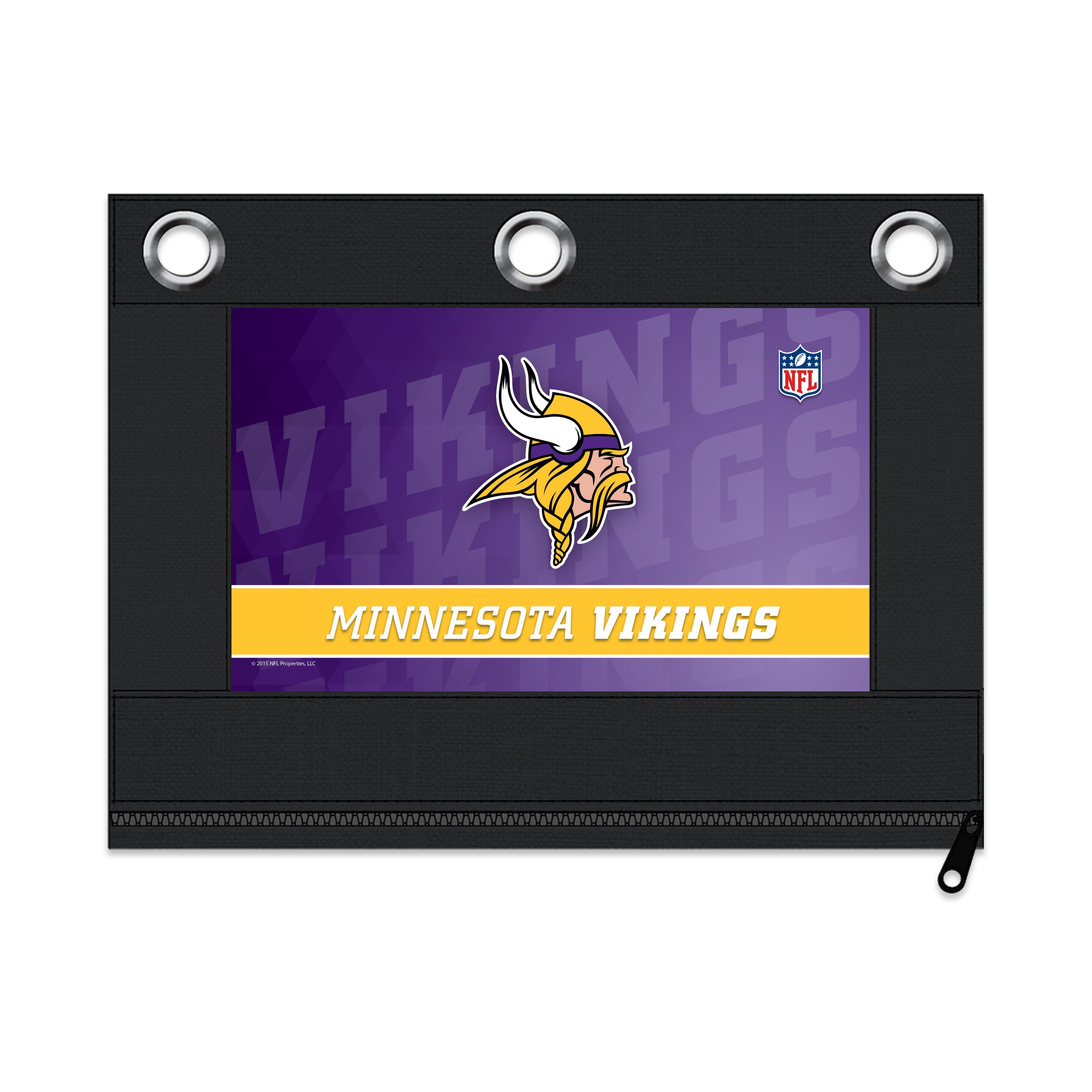 NFL Minnesota Vikings Zippered Pencil Pouch with Grommets