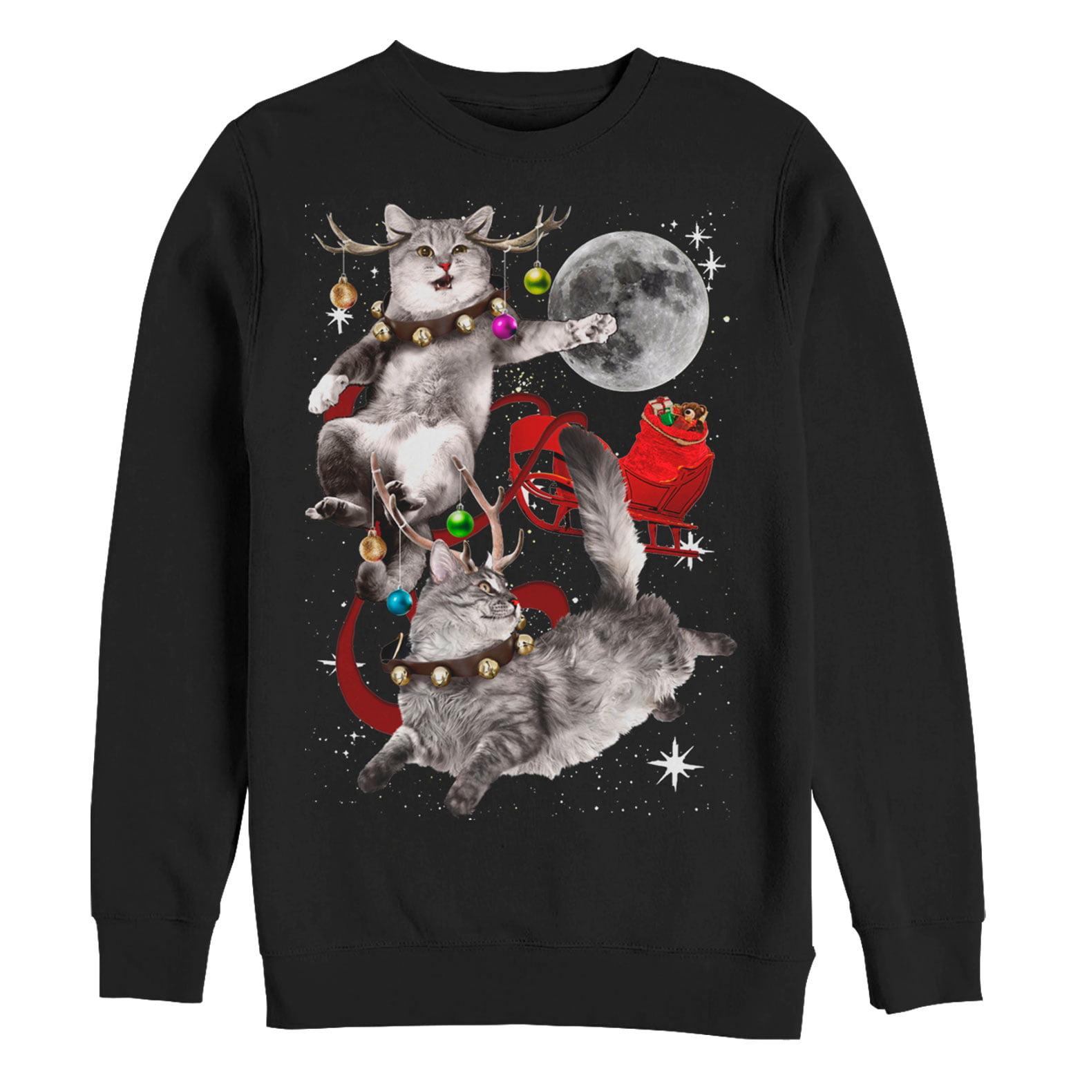 Lost Gods Men S Lost Gods Ugly Christmas Cat Sleigh Sweatshirt Walmart Com Walmart Com