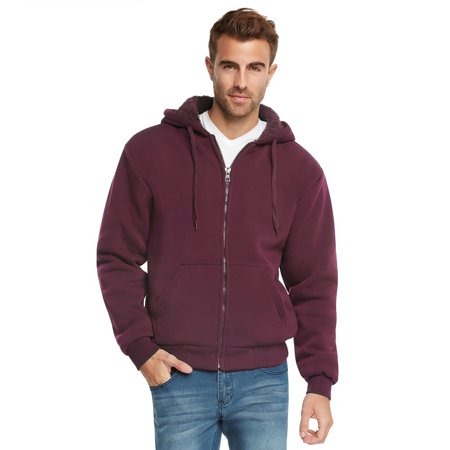 9 Crowns Essentials Mens Full Zip Sherpa Lined Fleece Hoodie (Sherpa Lined Thermal)