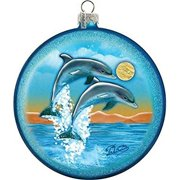 GDeBrekht 744-023 5.5 in. Dolphins Fly Glass Ornament