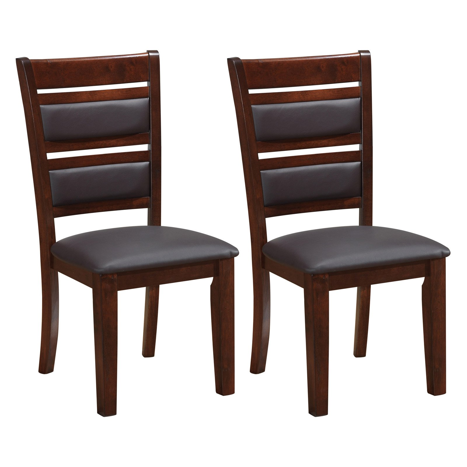 CorLiving Chocolate Brown Bonded Leather Dining Chairs, Set of 2