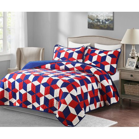 2 Piece Patriotic Oversized Twin Quilt Set America
