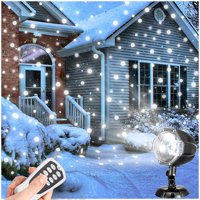 Christmas Snow Projector Lights, Outdoor Remote Control LED Snowfall Projector Decorative Lighting for Halloween, Christmas, Party, Home Yard Garden