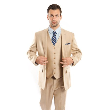 Mens Solid Two Button Notch Lapel Suit With Matching Vest](Grey Ring Bearer Suit)
