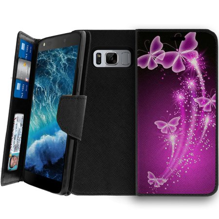 - Galaxy S8 Active Clutch Case, Galaxy S8 Active Wallet Clutch Case for Women [CLIP FOLIO] Galaxy S8 Active Wallet Card & Kickstand Case with Magnetic Snap Folio Case - Hot Purple Butterfly