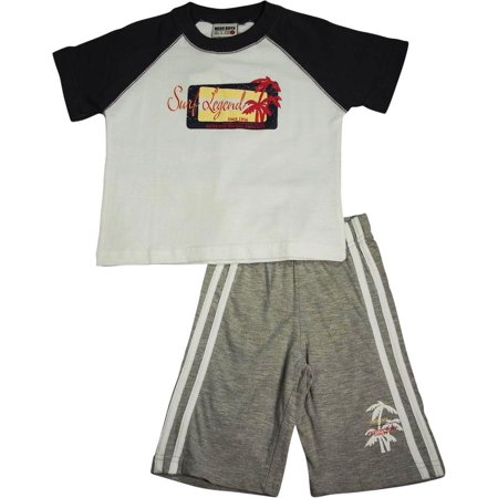 Mish Mish Infant Toddler Boys Cotton Short Sleeve Tank Tee Shirts Short Sets, 26672 blue/grey / 24Months (Tiger Outfit)