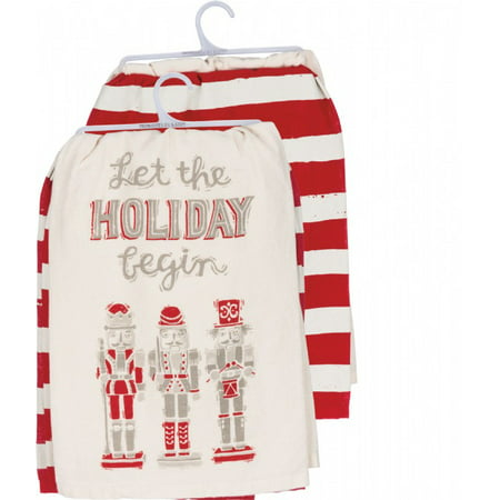 Dish Towel; 2 Piese Set 'Let The Holiday Begin' 100% Cotton