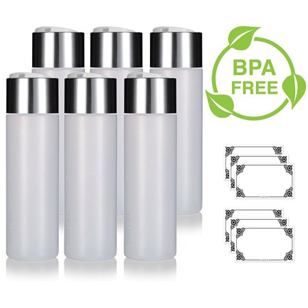 Clear Natural 8 oz / 250 ml Professional Squeeze Cylinder Bottles (BPA Free) with Wide Silver Disc Cap Lid (6 pack) + Labels for Shampoo, Conditioner, Body Wash, Lotion, and more