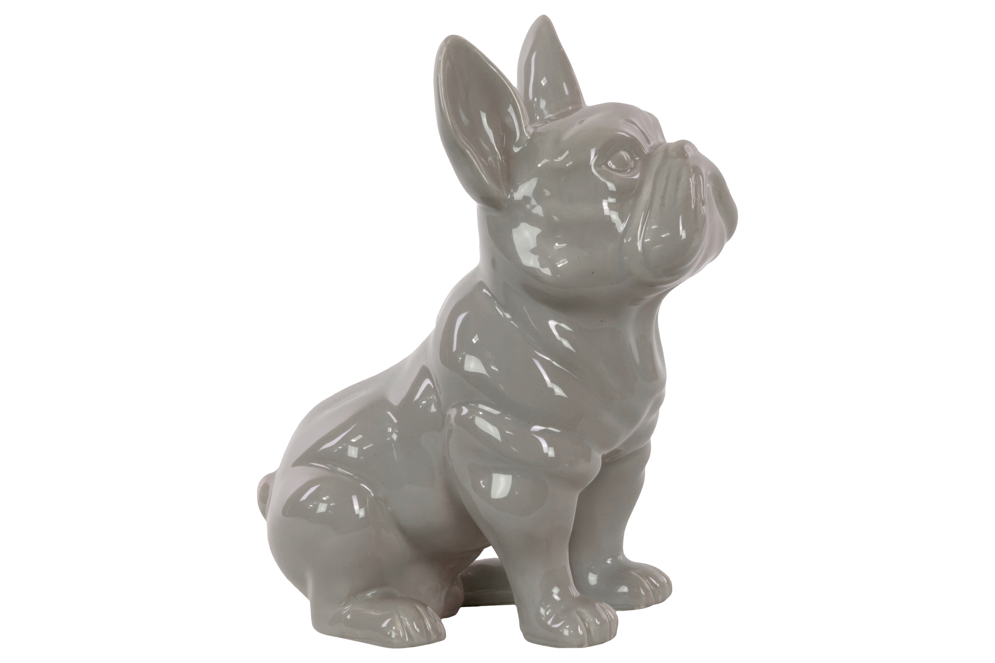 Urban Trends Collection: Ceramic Dog Figurine, Gloss Finish, Gray by Urban Trends Collection