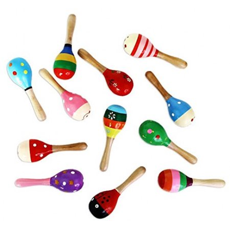 Dazzling Toys Mini (5 Inch) Wooden Fiesta Maracas - Pack of 12 - Assorted colors and designs - Wooden Maracas Wholesale