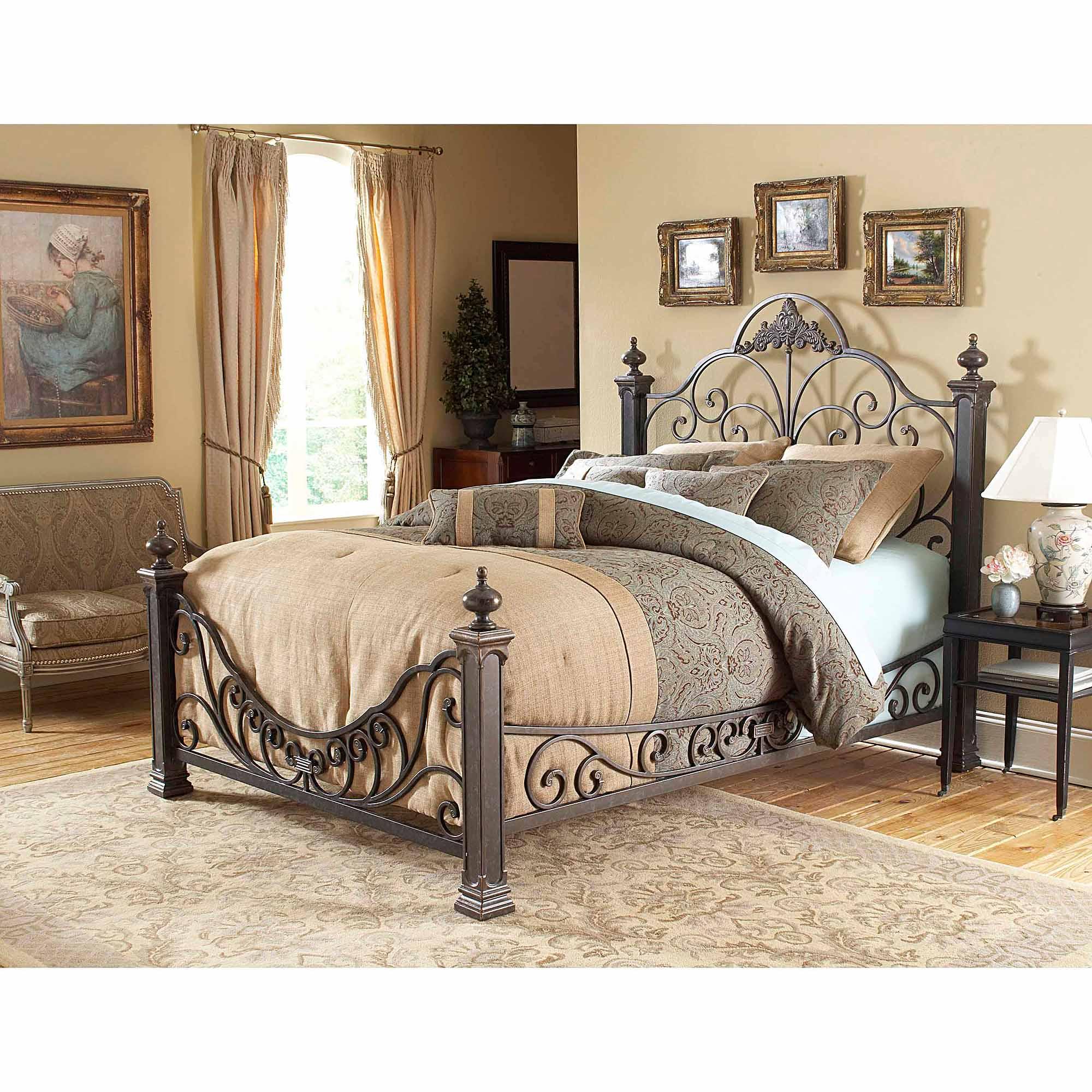 Leggett & Platt Fashion Bed Group Baroque Queen Bed Side Rails and Slats, Gilded Slate (Box 3 of 3)