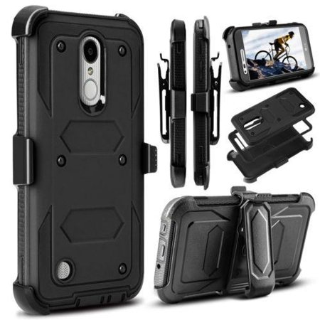 LG Tribute Dynasty, LG Aristo 2 Case, Triple Protection w/ Built in Screen  Protector Heavy Duty Holster Combo Clip Cover - Black