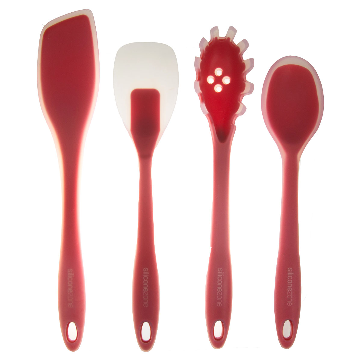 4-Piece All-Purpose Silicone Kitchen Cooking Utensils Set Heat Resistant Spoonula Turner Spaghetti Ladle Red Bundle