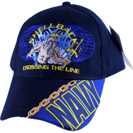 Navy Shellback Crossing The Line Mens Cap [Dark Navy Blue - Adjustable]