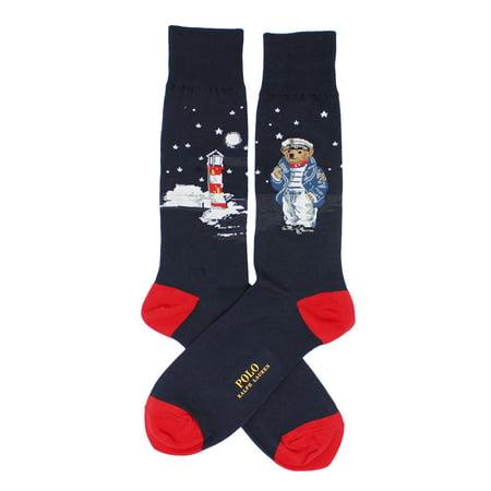Polo Ralph Lauren Men's Single Sea Captain Bear Scenic Solid Casual Dress Sock](Captain Barnacles Bear)