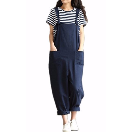 Womens Casual Loose Straps No Button Jumpsuit Dungaree Trousers - Vault Jumpsuit For Sale