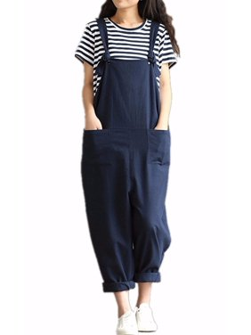 Womens Casual Loose Straps No Button Jumpsuit Dungaree Trousers Overalls