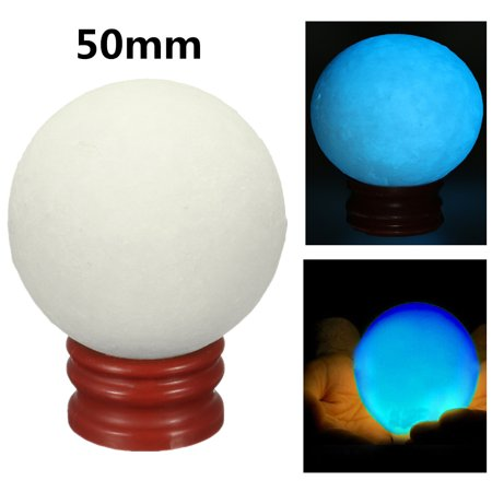 50mm Blue Glow In Dark Stone Luminous Pearl Quartz Crystal Sphere Ball Night Pearl with Plastic Base Stand Christmas Gift