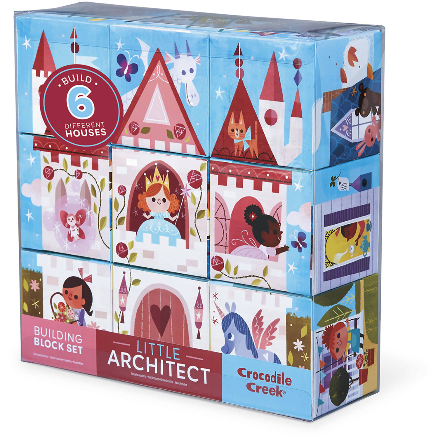 Crocodile Creek Little Architect Girl Builder Jumbo Block Mix-and-Match Stacking Set, 3.5""
