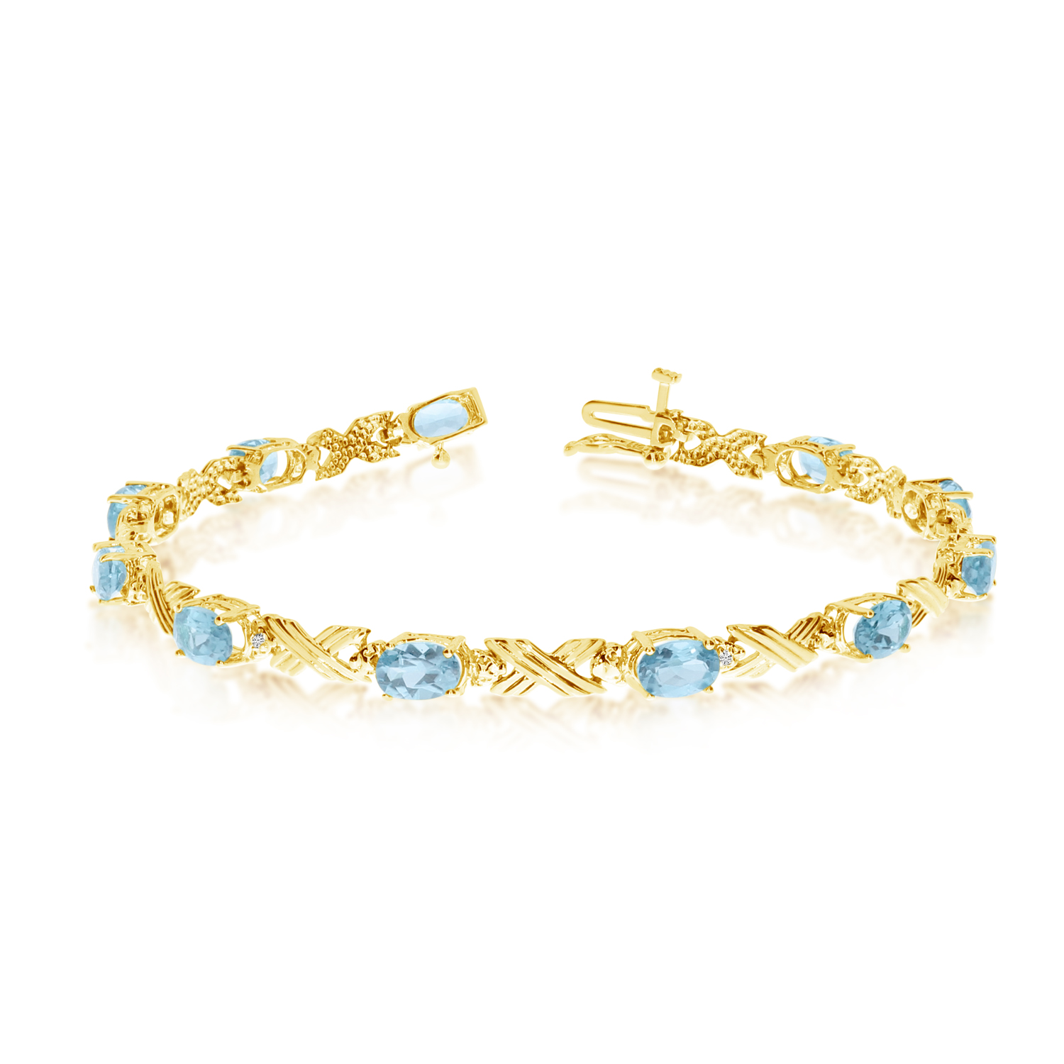 14K Yellow Gold Oval Aquamarine and Diamond Bracelet by LCD