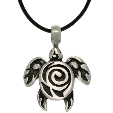 Turtle Pendant - Pewter Sea Turtle with Tribal Spiral Unisex Pendant on 18 Inch Black Leather Cord Necklace