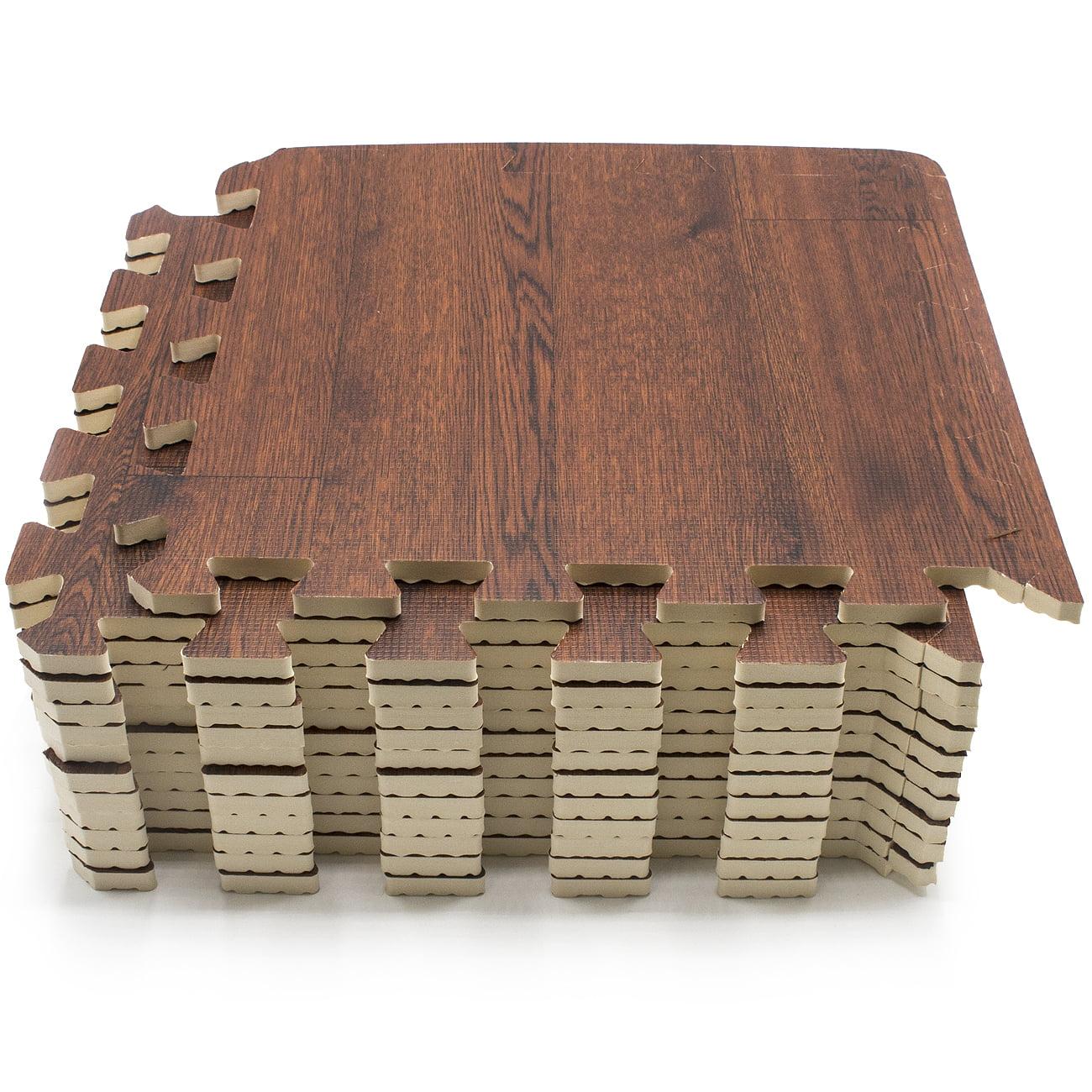Sorbus Interlocking Floor Mat –Wood Print Multipurpose Foam Tile Flooring – Home, Office, Playroom (9 Tiles, 9 Sq ft, Gray)